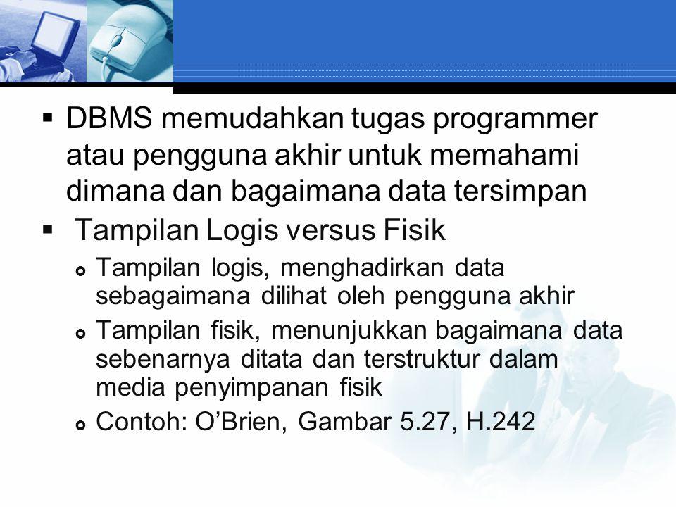  DBMS memudahkan tugas programmer atau pengguna akhir untuk memahami dimana dan bagaimana data tersimpan  Tampilan Logis versus Fisik  Tampilan log