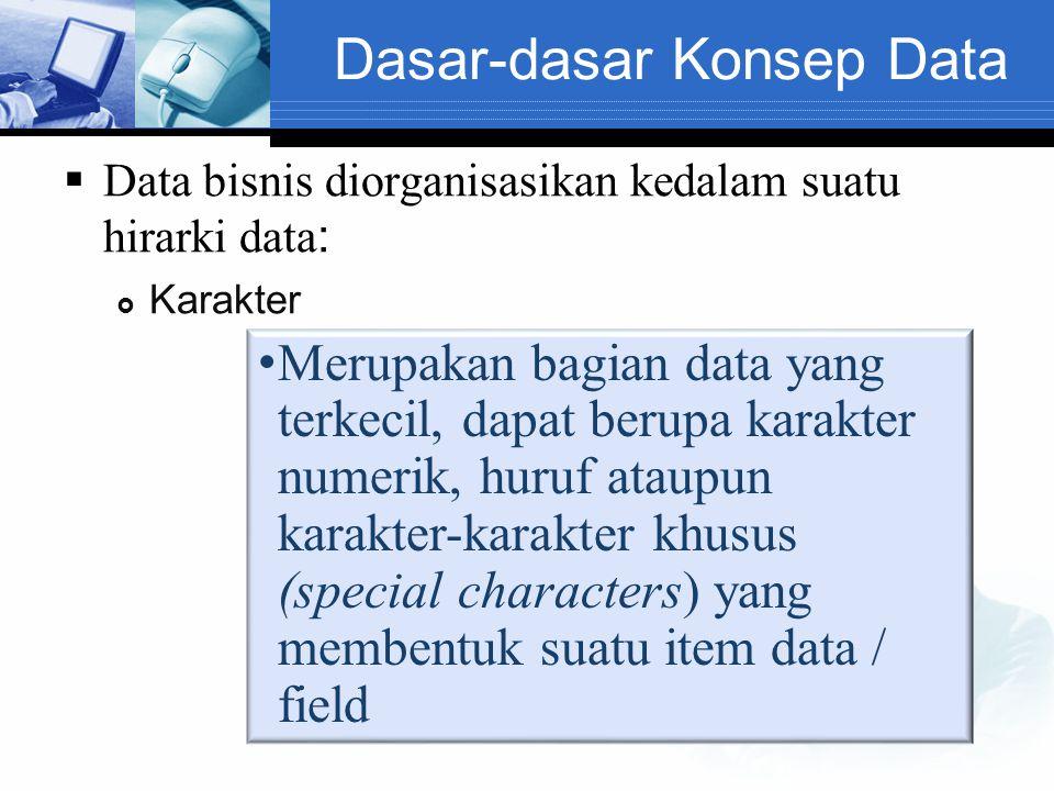 Dasar-dasar Konsep Data  Data bisnis diorganisasikan kedalam suatu hirarki data :  Karakter Merupakan bagian data yang terkecil, dapat berupa karakt