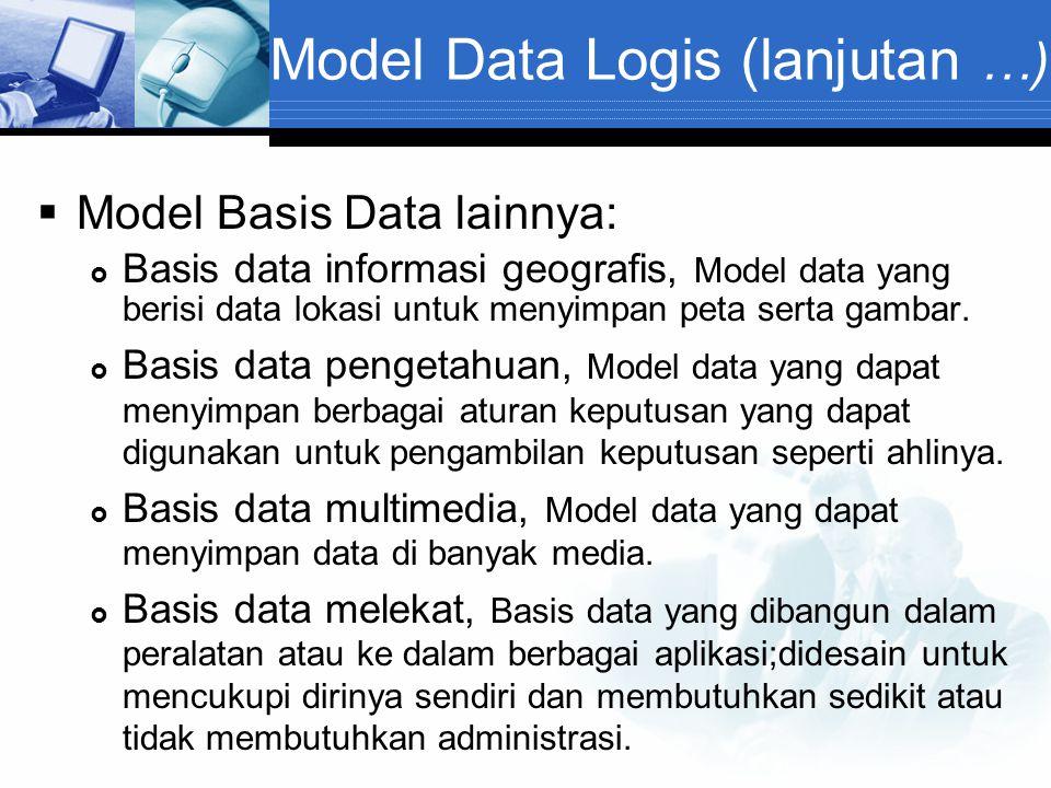 Model Data Logis (lanjutan …)  Model Basis Data lainnya:  Basis data informasi geografis, Model data yang berisi data lokasi untuk menyimpan peta se
