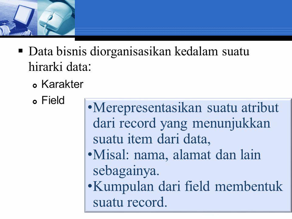  Data bisnis diorganisasikan kedalam suatu hirarki data :  Karakter  Field Merepresentasikan suatu atribut dari record yang menunjukkan suatu item