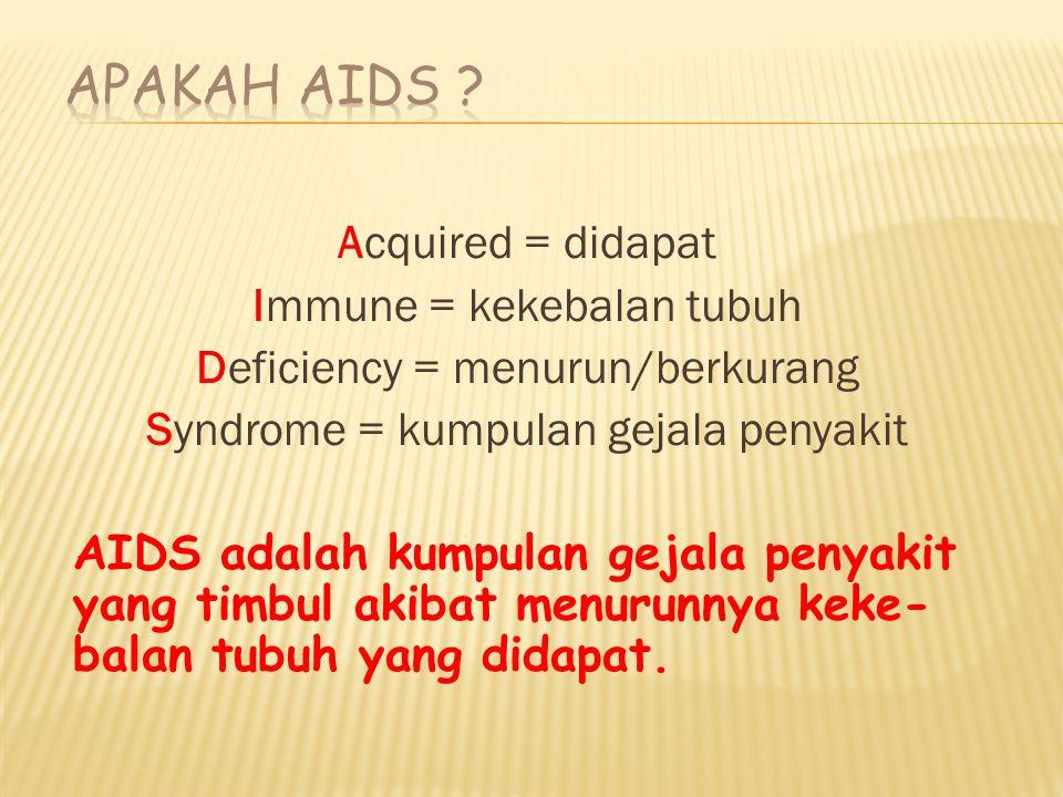 Acquired = didapat Immune = kekebalan tubuh Deficiency = menurun/berkurang Syndrome = kumpulan gejala penyakit AIDS adalah kumpulan gejala penyakit yang timbul akibat menurunnya keke- balan tubuh yang didapat.