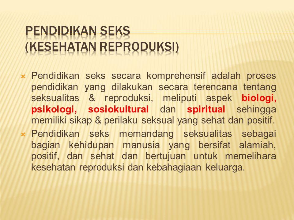  Pendidikan seks secara komprehensif adalah proses pendidikan yang dilakukan secara terencana tentang seksualitas & reproduksi, meliputi aspek biologi, psikologi, sosiokultural dan spiritual sehingga memiliki sikap & perilaku seksual yang sehat dan positif.