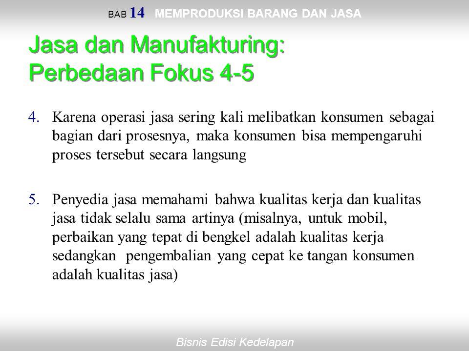 Bisnis Edisi Kedelapan BAB 14 MEMPRODUKSI BARANG DAN JASA Jasa dan Manufakturing: Perbedaan Fokus 4-5 4.Karena operasi jasa sering kali melibatkan kon