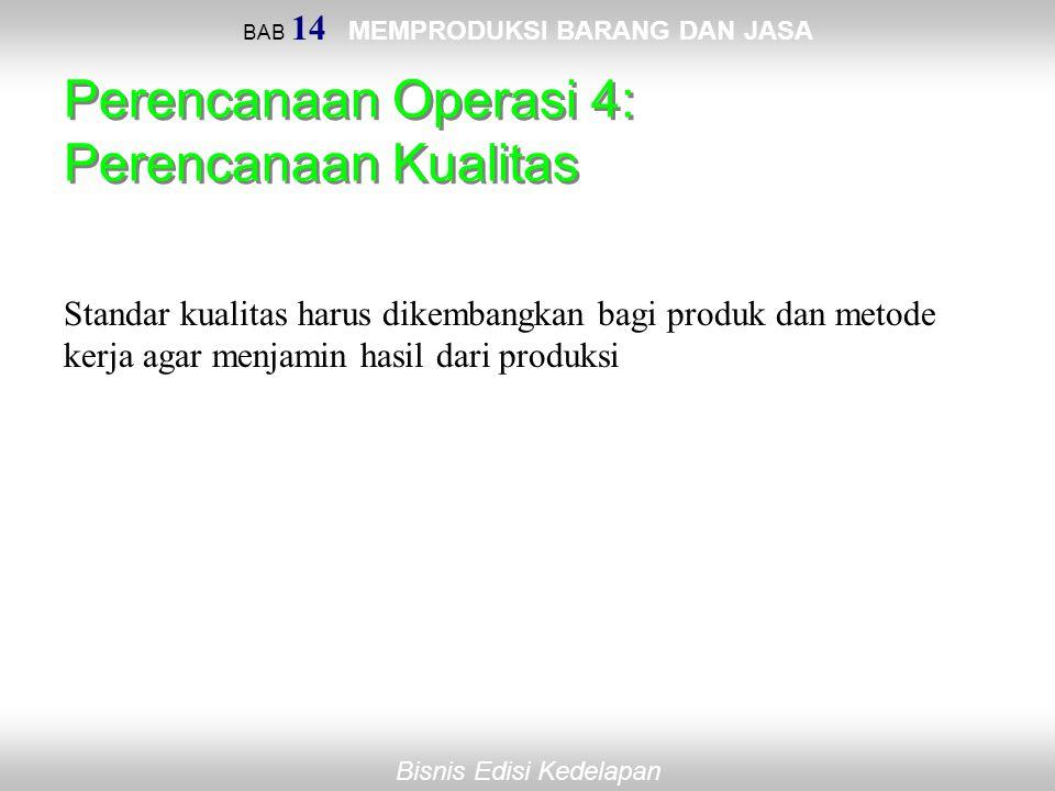 Bisnis Edisi Kedelapan BAB 14 MEMPRODUKSI BARANG DAN JASA Perencanaan Operasi 4: Perencanaan Kualitas Standar kualitas harus dikembangkan bagi produk