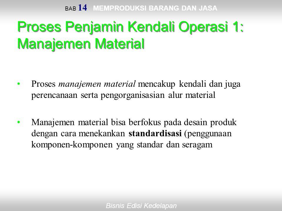 Bisnis Edisi Kedelapan BAB 14 MEMPRODUKSI BARANG DAN JASA Proses Penjamin Kendali Operasi 1: Manajemen Material Proses manajemen material mencakup ken