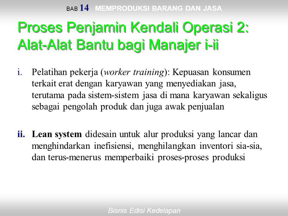 Bisnis Edisi Kedelapan BAB 14 MEMPRODUKSI BARANG DAN JASA Proses Penjamin Kendali Operasi 2: Alat-Alat Bantu bagi Manajer i-ii i.Pelatihan pekerja (wo