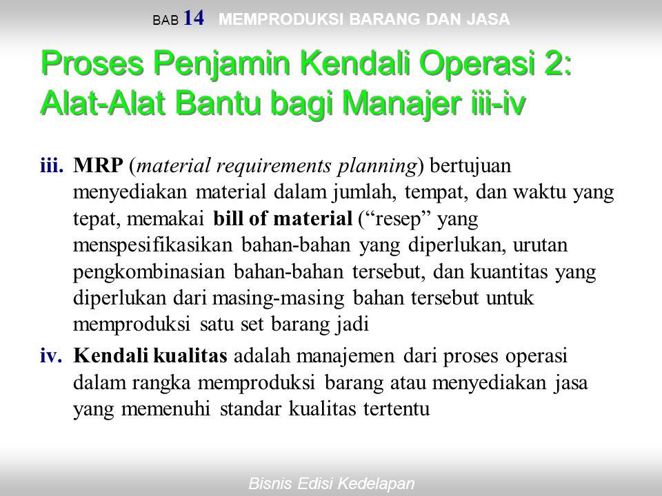 Bisnis Edisi Kedelapan BAB 14 MEMPRODUKSI BARANG DAN JASA Proses Penjamin Kendali Operasi 2: Alat-Alat Bantu bagi Manajer iii-iv iii.MRP (material req