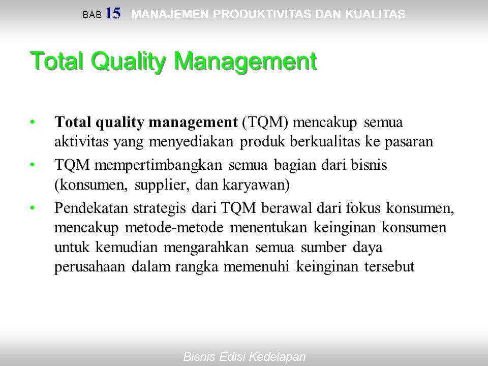 BAB 15 MANAJEMEN PRODUKTIVITAS DAN KUALITAS Bisnis Edisi Kedelapan Total Quality Management Total quality management (TQM) mencakup semua aktivitas ya