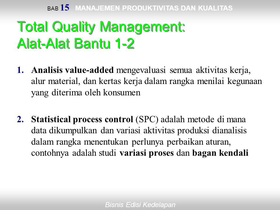 BAB 15 MANAJEMEN PRODUKTIVITAS DAN KUALITAS Bisnis Edisi Kedelapan Total Quality Management: Alat-Alat Bantu 1-2 1.Analisis value-added mengevaluasi s