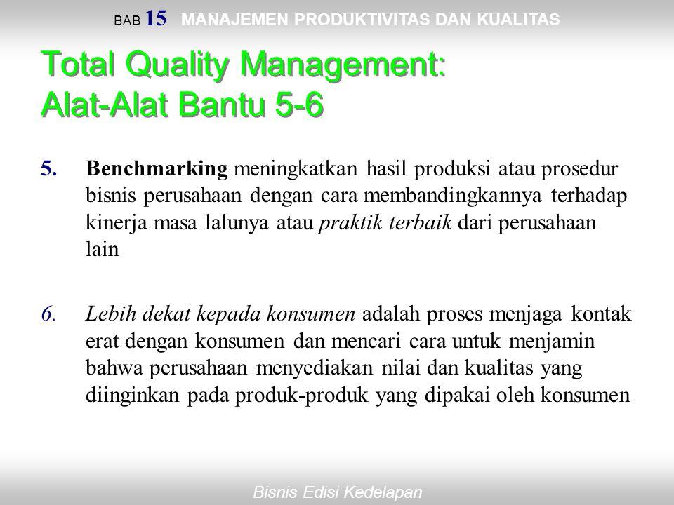 BAB 15 MANAJEMEN PRODUKTIVITAS DAN KUALITAS Bisnis Edisi Kedelapan Total Quality Management: Alat-Alat Bantu 5-6 5.Benchmarking meningkatkan hasil pro