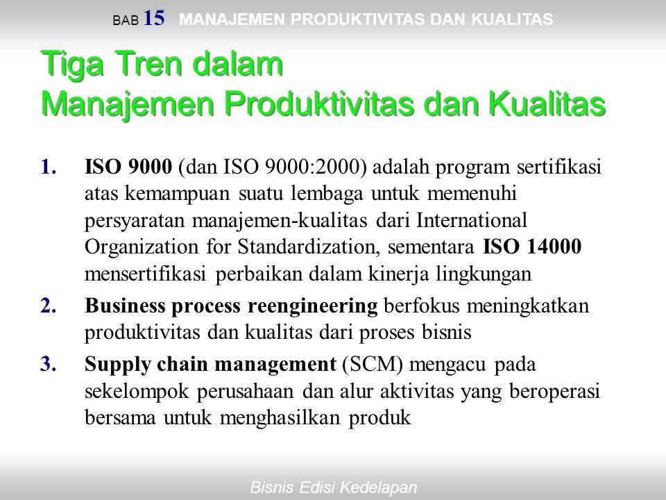 BAB 15 MANAJEMEN PRODUKTIVITAS DAN KUALITAS Bisnis Edisi Kedelapan Tiga Tren dalam Manajemen Produktivitas dan Kualitas 1.ISO 9000 (dan ISO 9000:2000)