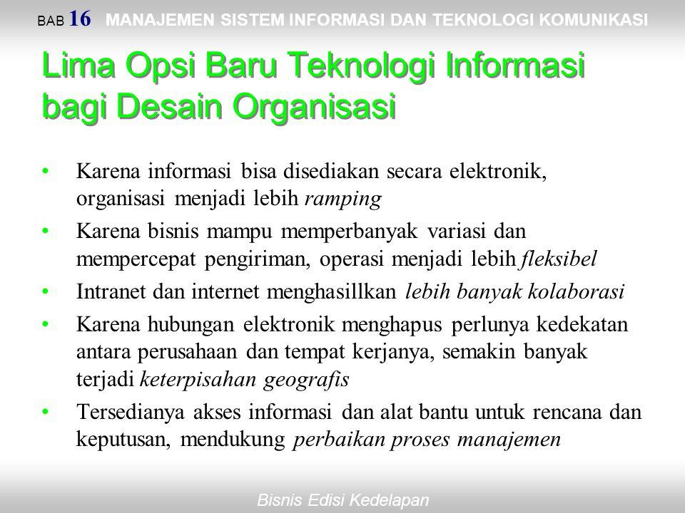 Bisnis Edisi Kedelapan Lima Opsi Baru Teknologi Informasi bagi Desain Organisasi Karena informasi bisa disediakan secara elektronik, organisasi menjad