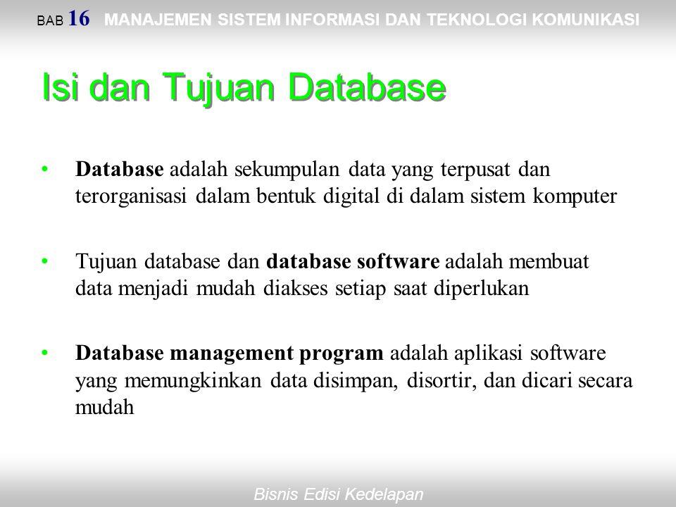 BAB 16 MANAJEMEN SISTEM INFORMASI DAN TEKNOLOGI KOMUNIKASI Bisnis Edisi Kedelapan Isi dan Tujuan Database Database adalah sekumpulan data yang terpusa