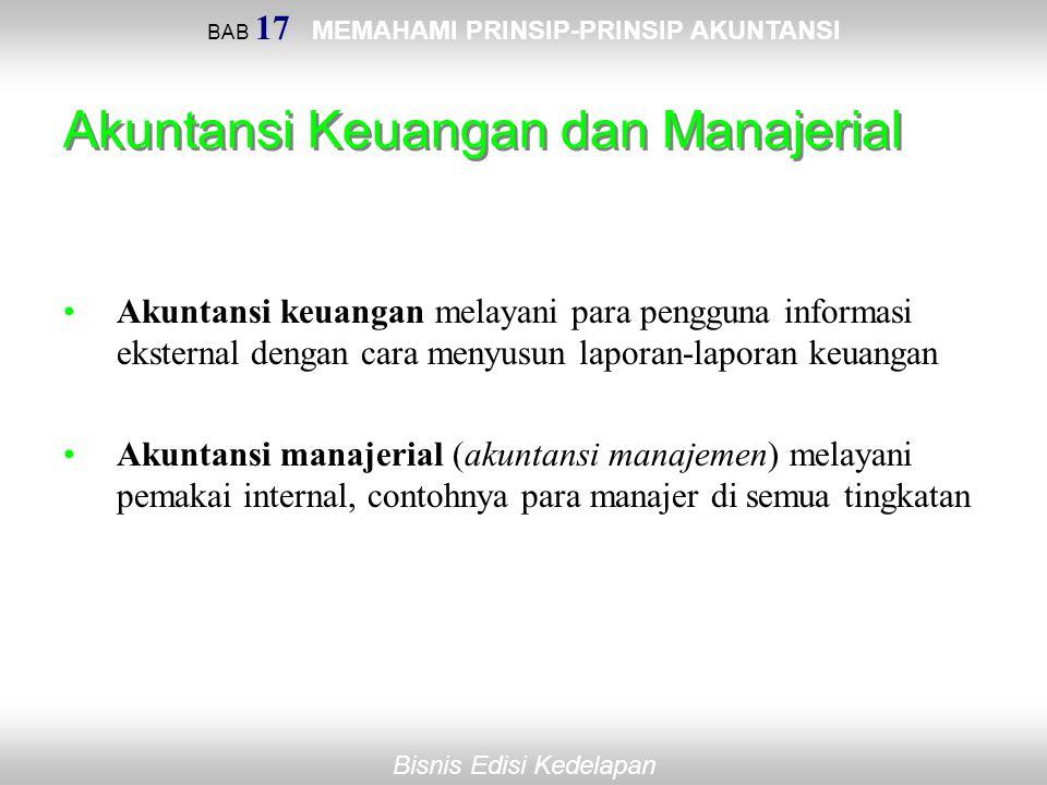 BAB 17 MEMAHAMI PRINSIP-PRINSIP AKUNTANSI Bisnis Edisi Kedelapan Akuntansi Keuangan dan Manajerial Akuntansi keuangan melayani para pengguna informasi