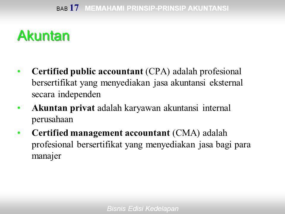 BAB 17 MEMAHAMI PRINSIP-PRINSIP AKUNTANSI Bisnis Edisi Kedelapan Akuntan Certified public accountant (CPA) adalah profesional bersertifikat yang menye
