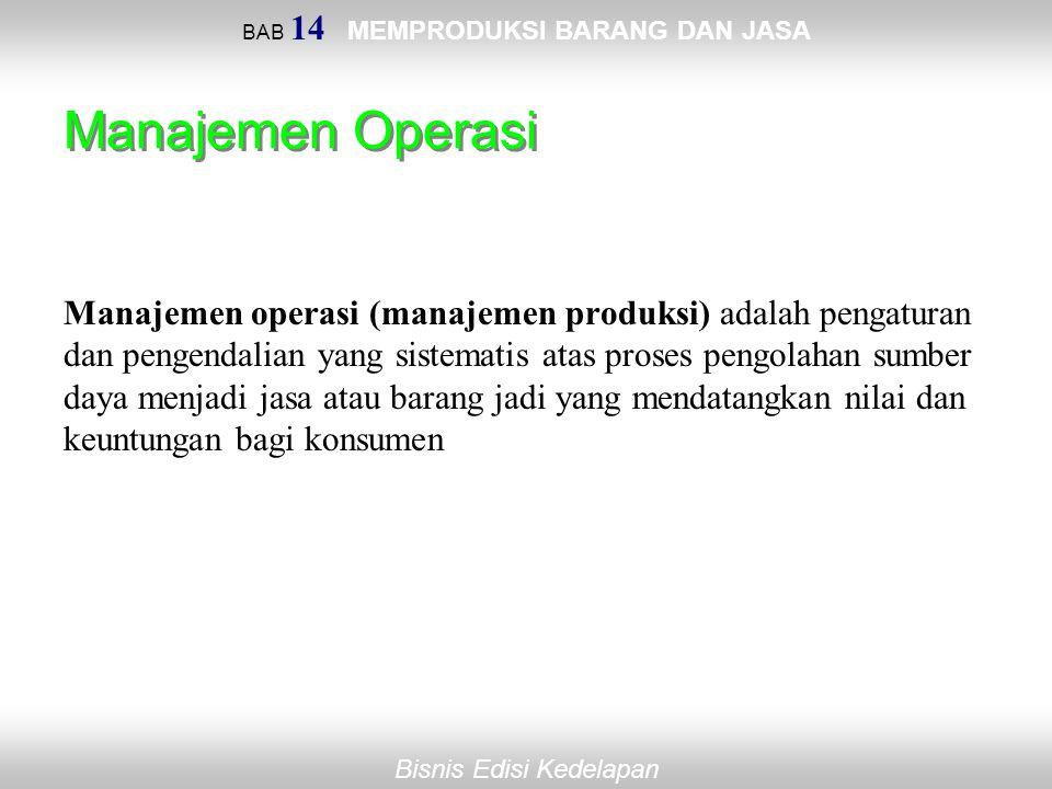 Bisnis Edisi Kedelapan BAB 14 MEMPRODUKSI BARANG DAN JASA Manajemen Operasi Manajemen operasi (manajemen produksi) adalah pengaturan dan pengendalian