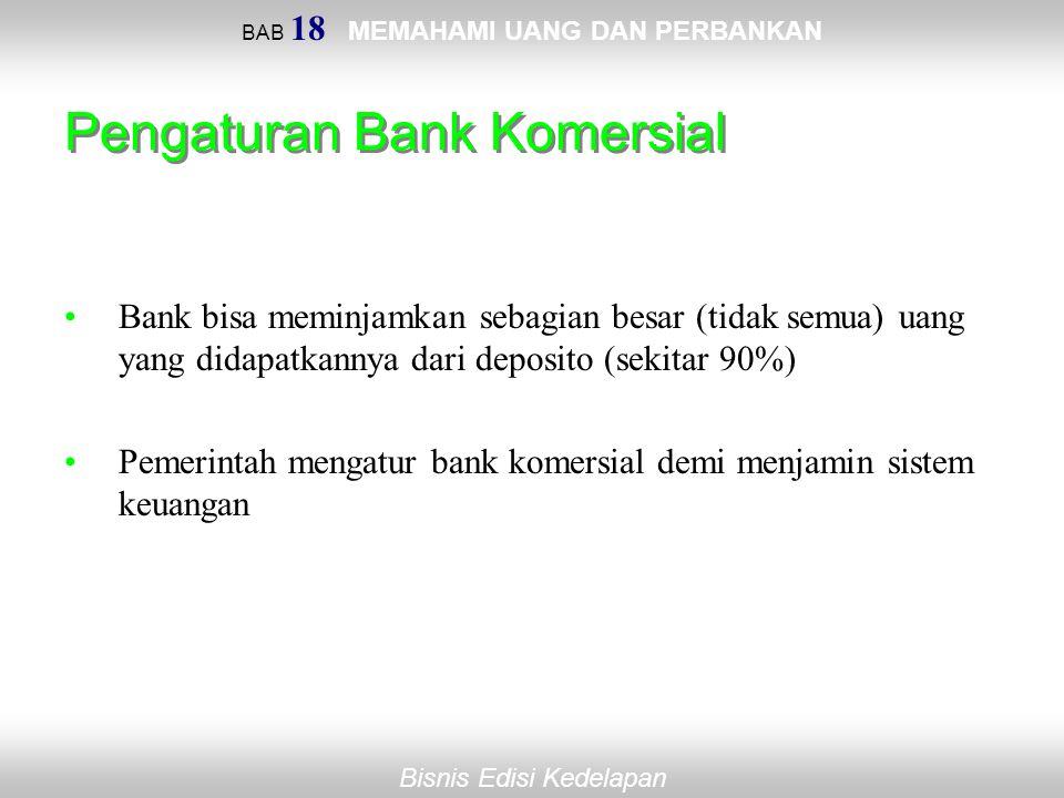 BAB 18 MEMAHAMI UANG DAN PERBANKAN Bisnis Edisi Kedelapan Pengaturan Bank Komersial Bank bisa meminjamkan sebagian besar (tidak semua) uang yang didap