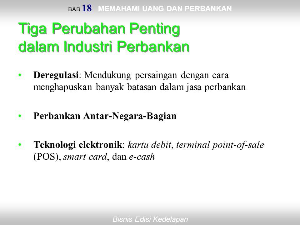 BAB 18 MEMAHAMI UANG DAN PERBANKAN Bisnis Edisi Kedelapan Tiga Perubahan Penting dalam Industri Perbankan Deregulasi: Mendukung persaingan dengan cara