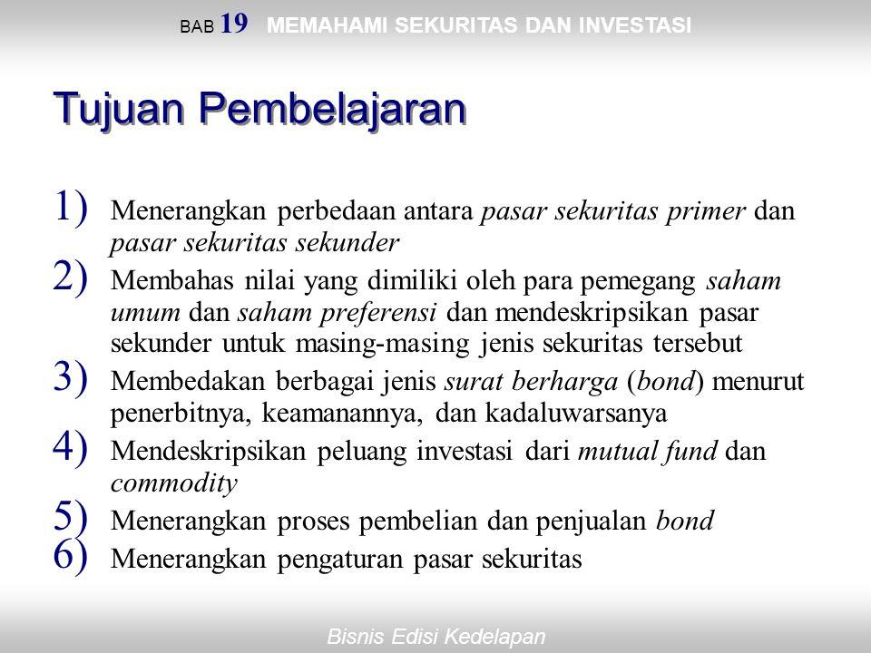 Bisnis Edisi Kedelapan BAB 19 MEMAHAMI SEKURITAS DAN INVESTASI Tujuan Pembelajaran 1) Menerangkan perbedaan antara pasar sekuritas primer dan pasar se