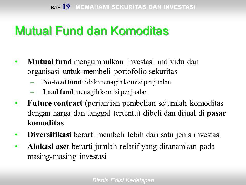 BAB 19 MEMAHAMI SEKURITAS DAN INVESTASI Bisnis Edisi Kedelapan Mutual Fund dan Komoditas Mutual fund mengumpulkan investasi individu dan organisasi un