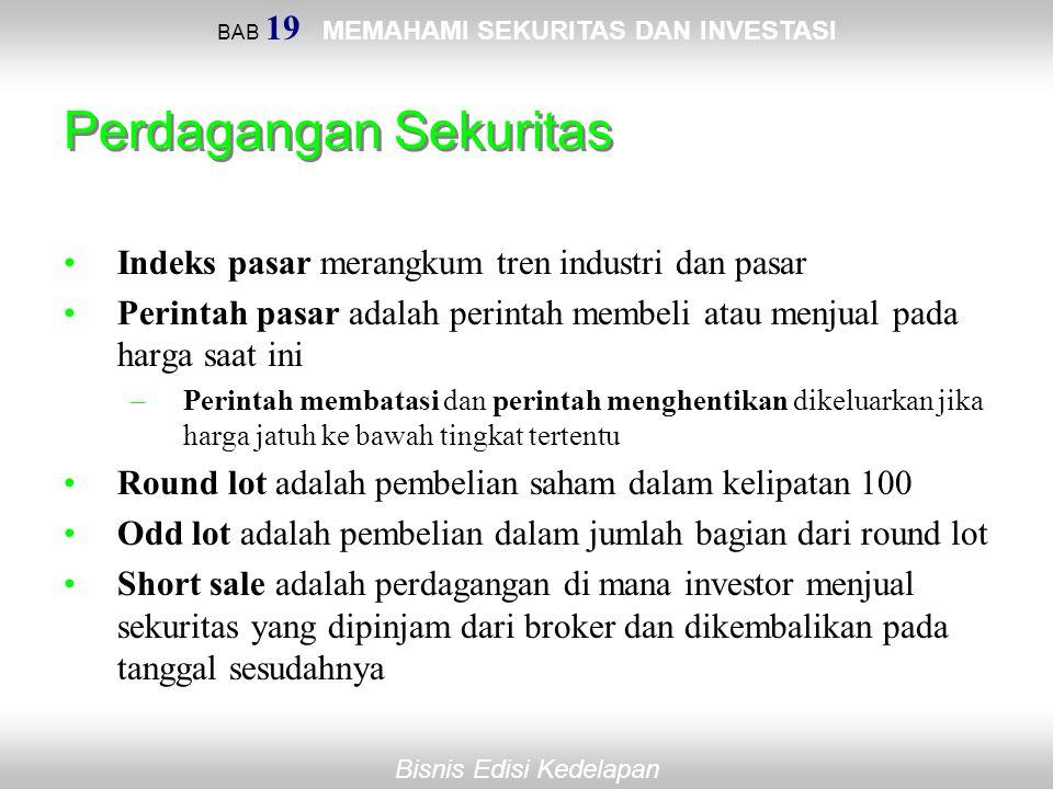 BAB 19 MEMAHAMI SEKURITAS DAN INVESTASI Bisnis Edisi Kedelapan Perdagangan Sekuritas Indeks pasar merangkum tren industri dan pasar Perintah pasar ada