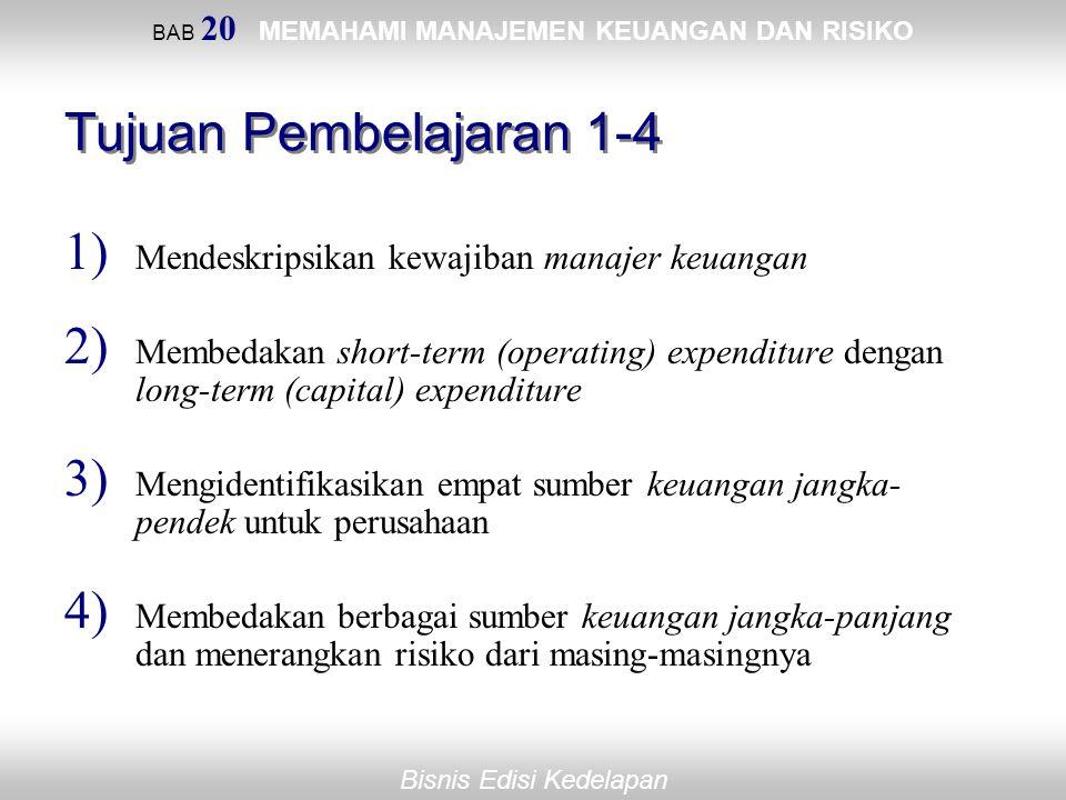 Bisnis Edisi Kedelapan BAB 20 MEMAHAMI MANAJEMEN KEUANGAN DAN RISIKO Tujuan Pembelajaran 1-4 1) Mendeskripsikan kewajiban manajer keuangan 2) Membedak