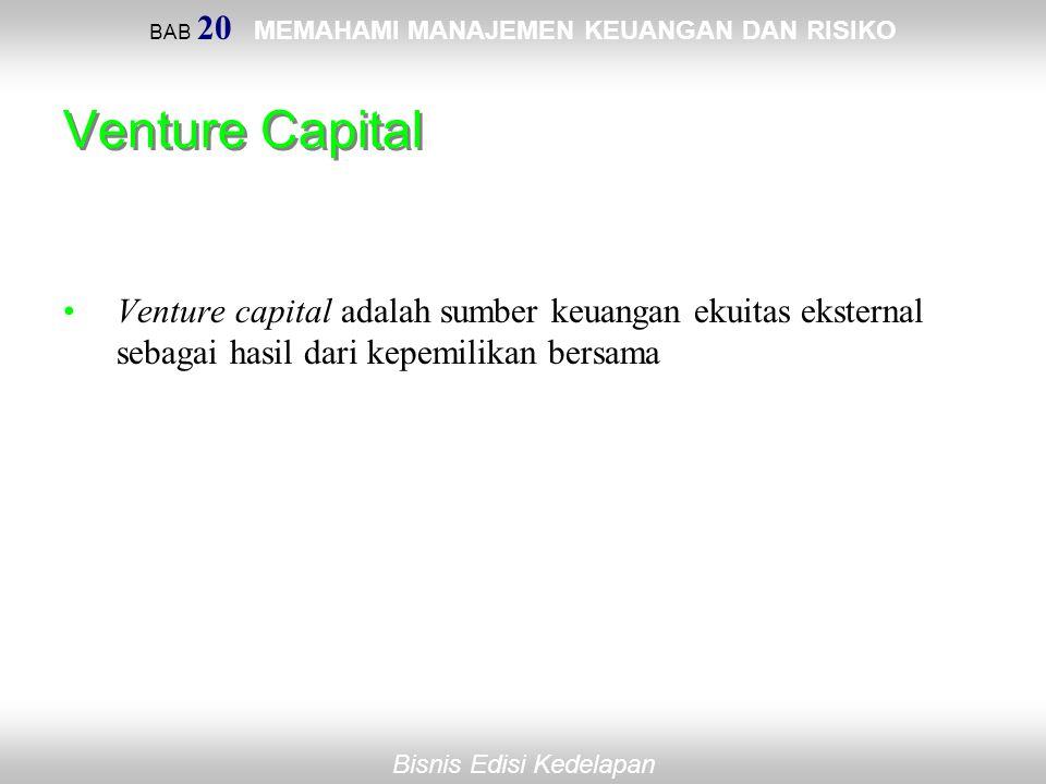 BAB 20 MEMAHAMI MANAJEMEN KEUANGAN DAN RISIKO Bisnis Edisi Kedelapan Venture Capital Venture capital adalah sumber keuangan ekuitas eksternal sebagai