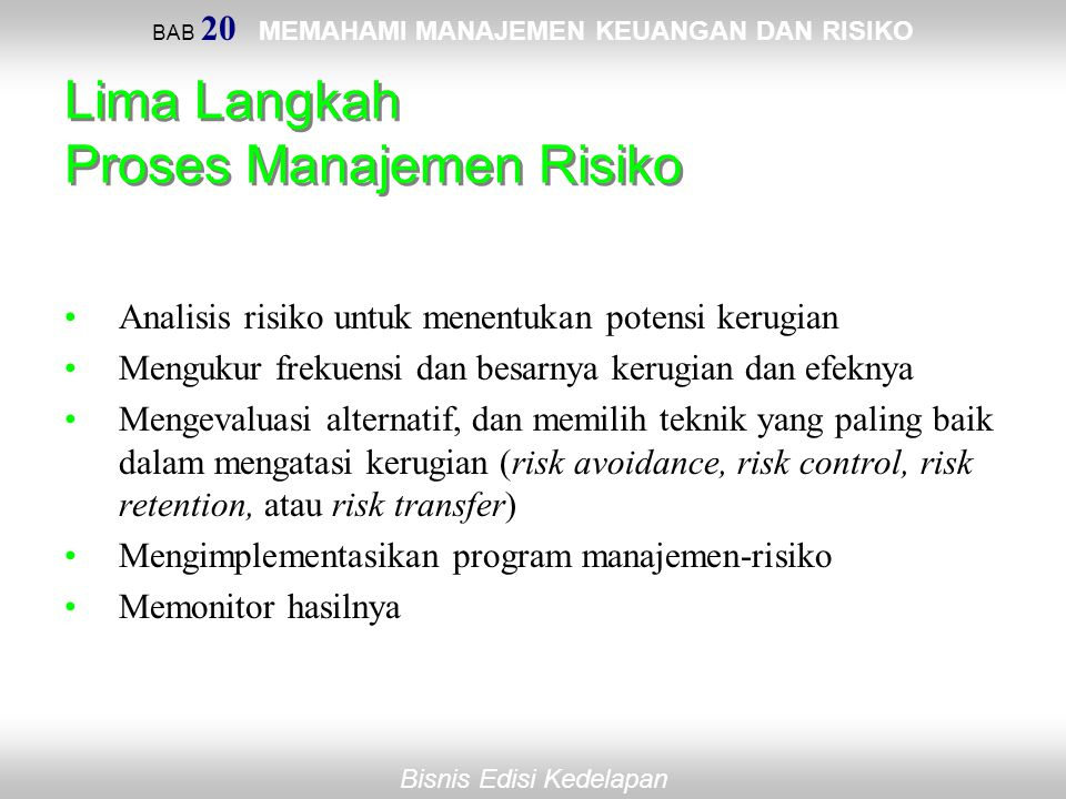 BAB 20 MEMAHAMI MANAJEMEN KEUANGAN DAN RISIKO Bisnis Edisi Kedelapan Lima Langkah Proses Manajemen Risiko Analisis risiko untuk menentukan potensi ker