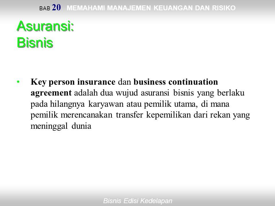BAB 20 MEMAHAMI MANAJEMEN KEUANGAN DAN RISIKO Bisnis Edisi Kedelapan Asuransi: Bisnis Key person insurance dan business continuation agreement adalah