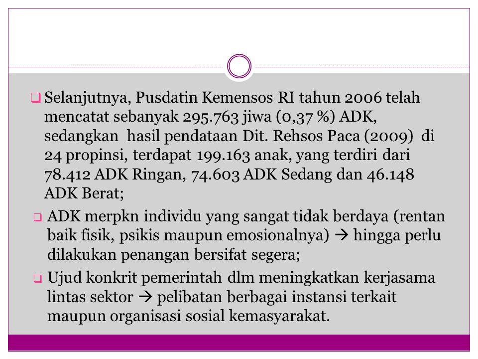  Selanjutnya, Pusdatin Kemensos RI tahun 2006 telah mencatat sebanyak 295.763 jiwa (0,37 %) ADK, sedangkan hasil pendataan Dit. Rehsos Paca (2009) di