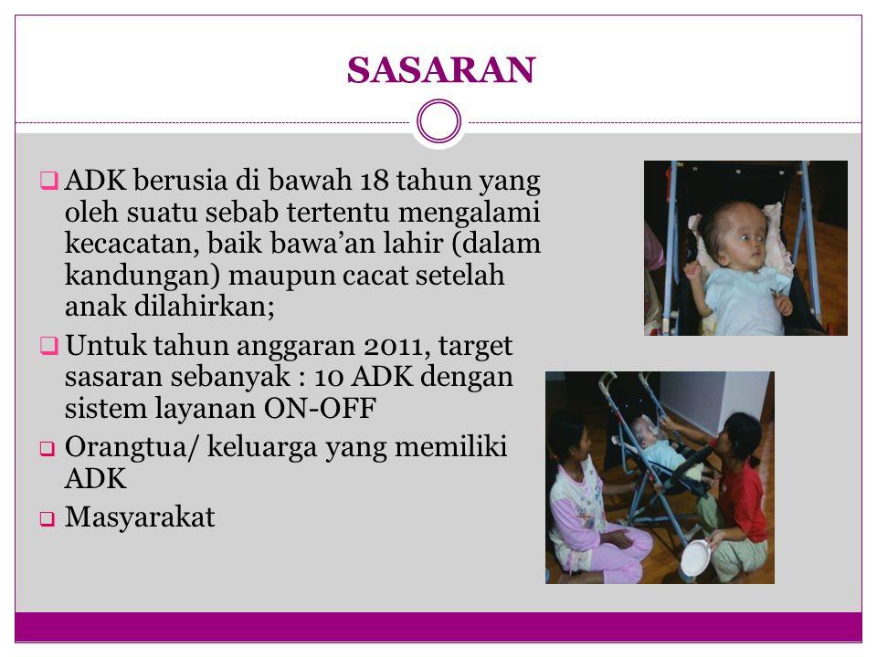 SASARAN  ADK berusia di bawah 18 tahun yang oleh suatu sebab tertentu mengalami kecacatan, baik bawa'an lahir (dalam kandungan) maupun cacat setelah