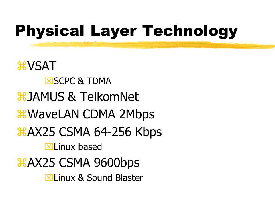 Physical Layer Technology zVSAT xSCPC & TDMA zJAMUS & TelkomNet zWaveLAN CDMA 2Mbps zAX25 CSMA 64-256 Kbps xLinux based zAX25 CSMA 9600bps xLinux & Sound Blaster