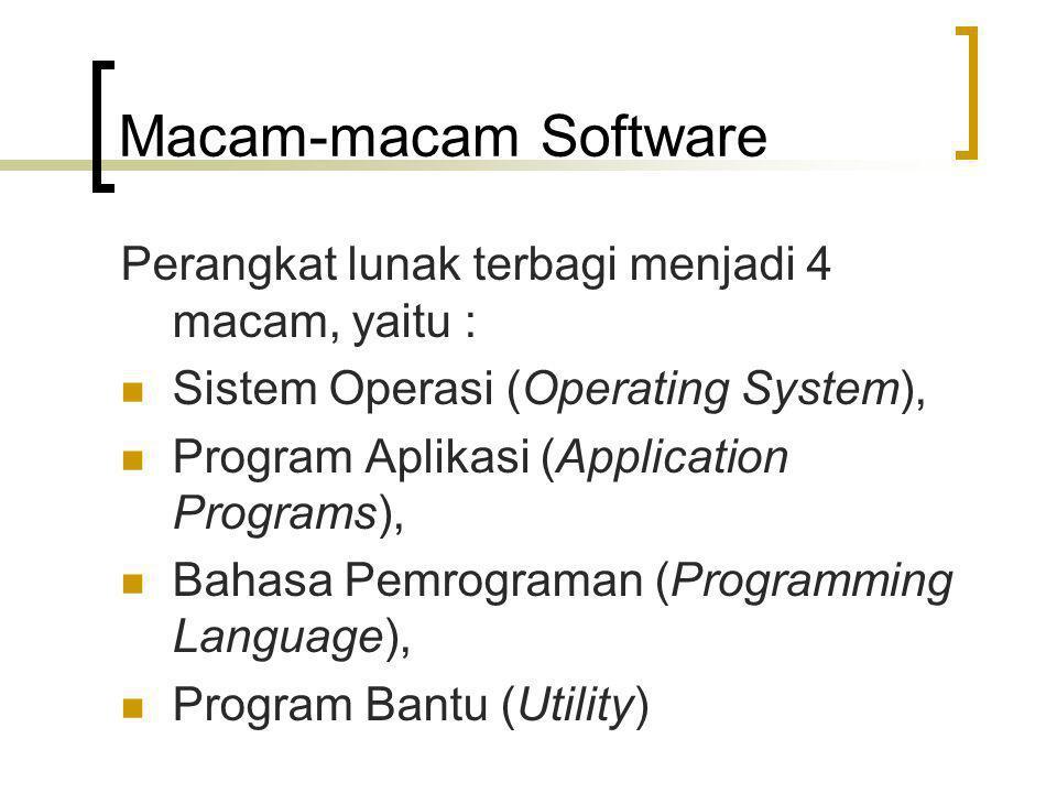 Macam-macam Software Perangkat lunak terbagi menjadi 4 macam, yaitu : Sistem Operasi (Operating System), Program Aplikasi (Application Programs), Bahasa Pemrograman (Programming Language), Program Bantu (Utility)
