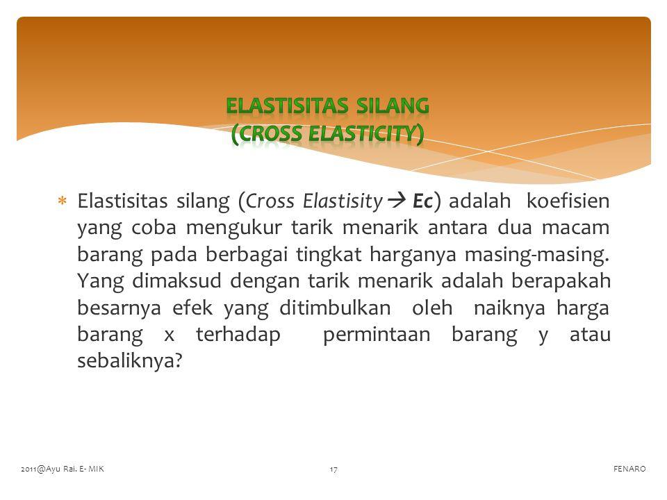  Elastisitas silang (Cross Elastisity  Ec) adalah koefisien yang coba mengukur tarik menarik antara dua macam barang pada berbagai tingkat harganya masing-masing.
