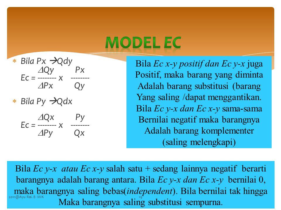  Bila Px  Qdy  Qy Px Ec = -------- x --------  Px Qy  Bila Py  Qdx  Qx Py Ec = -------- x --------  Py Qx FENARO Bila Ec x-y positif dan Ec y-x juga Positif, maka barang yang diminta Adalah barang substitusi (barang Yang saling /dapat menggantikan.