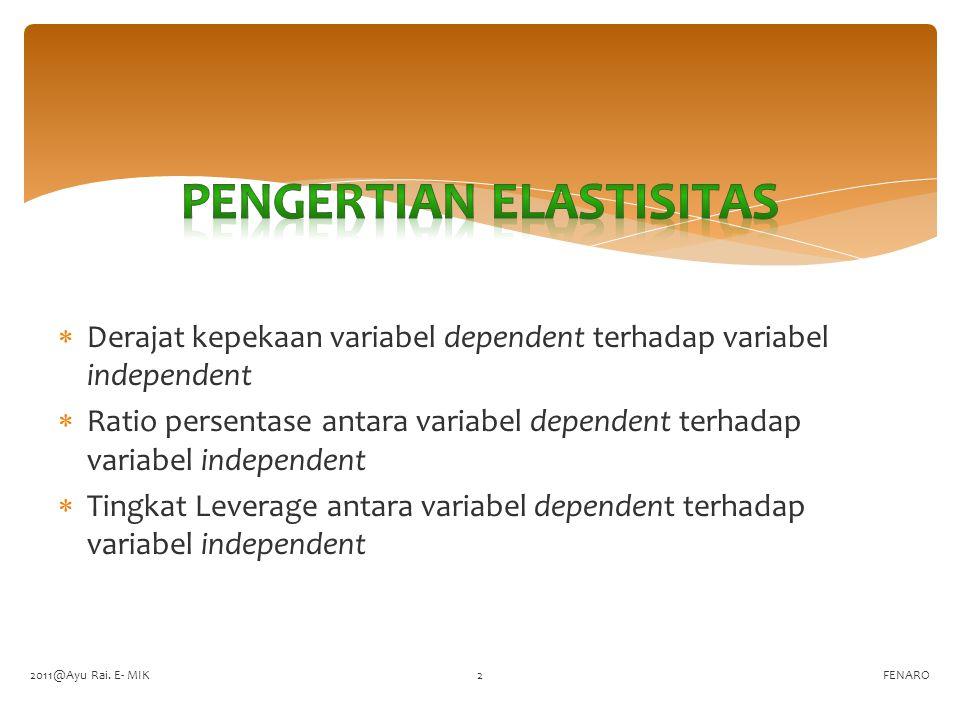  Derajat kepekaan variabel dependent terhadap variabel independent  Ratio persentase antara variabel dependent terhadap variabel independent  Tingk