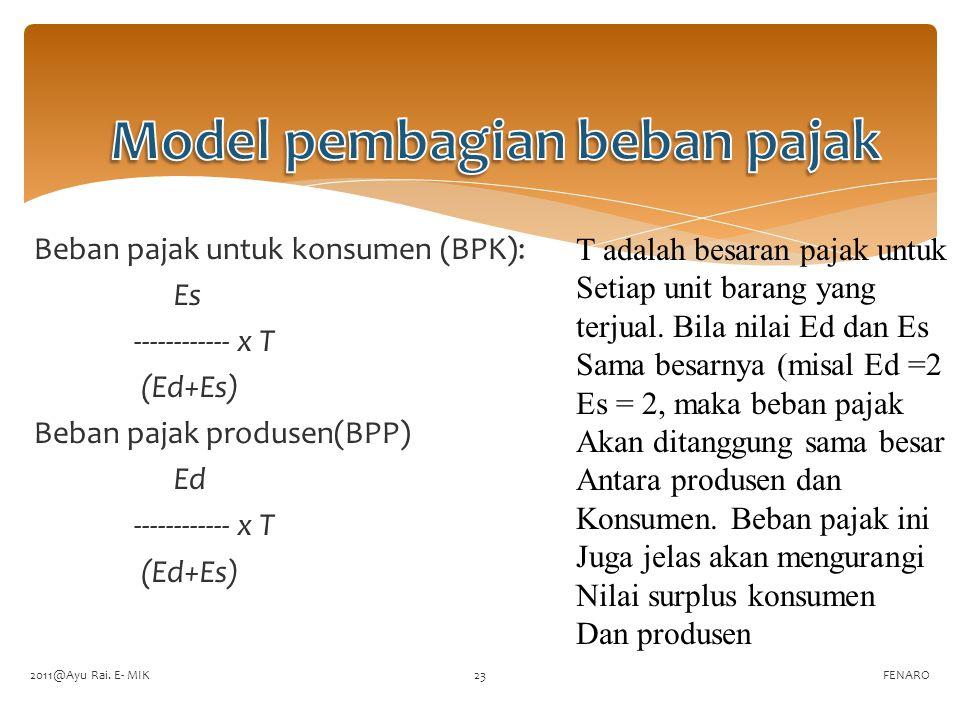 Beban pajak untuk konsumen (BPK): Es ------------ x T (Ed+Es) Beban pajak produsen(BPP) Ed ------------ x T (Ed+Es) FENARO T adalah besaran pajak untu