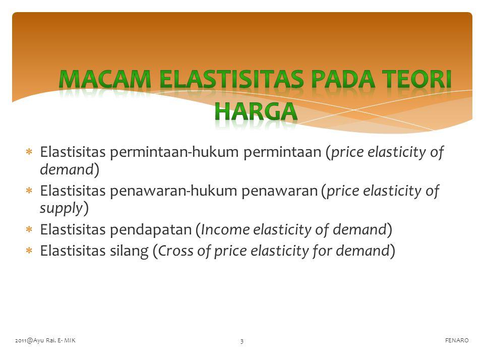  Elastisitas permintaan-hukum permintaan (price elasticity of demand)  Elastisitas penawaran-hukum penawaran (price elasticity of supply)  Elastisi