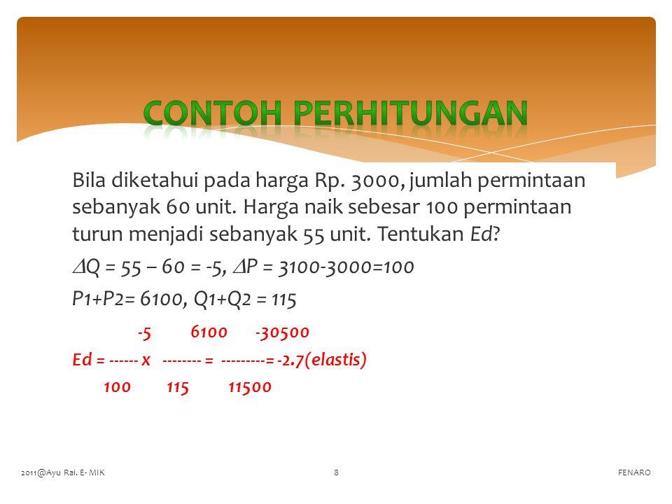  Rumus ini baik digunakan untuk menghitung elastisitas permintan pasar, terutama bila n untuk P  n untuk Q  N = n -1  Q/N  P/n  Q  P  Ed ---------- x -------- = ----------- x --------  P/N  Q/n  P  Q FENARO (A)(B) 2011@Ayu Rai.