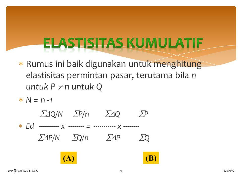  Bila diketahui informasi seperti tabel berikut : FENARO Per.PQd 1500050 2550045 3570042 Karena n  P = n  Q, n = 3  Q1 = 45 - 50 = -5,  Q2= 42 – 45 = -3,  P1 =5500 – 5000 = 500,  P2= 5700-5500=200,  P = 5000 + 5500 + 5700 =16200  Q = 50 + 45 + 42 = 137,  Q = -5 + -3 = -8,  P = 500 + 200 = 700 Nilai Ed absolut (tanda – diabaikan saja) -8 16200 -129600 Ed = ------ x --------- = ----------- = 1.35  Elastis 700 137 95900 2011@Ayu Rai.