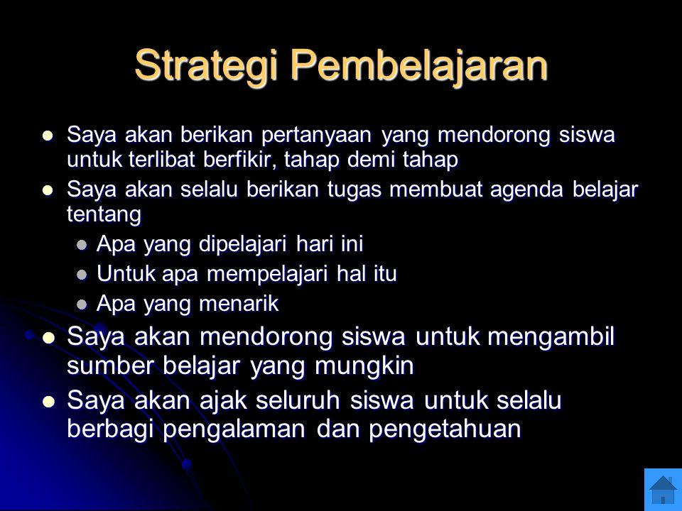 Strategi Pembelajaran Saya akan berikan pertanyaan yang mendorong siswa untuk terlibat berfikir, tahap demi tahap Saya akan berikan pertanyaan yang me