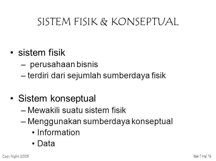 Copy Right 2005Bab 1 Hal 16 SISTEM FISIK & KONSEPTUAL sistem fisik – perusahaan bisnis –terdiri dari sejumlah sumberdaya fisik Sistem konseptual –Mewa