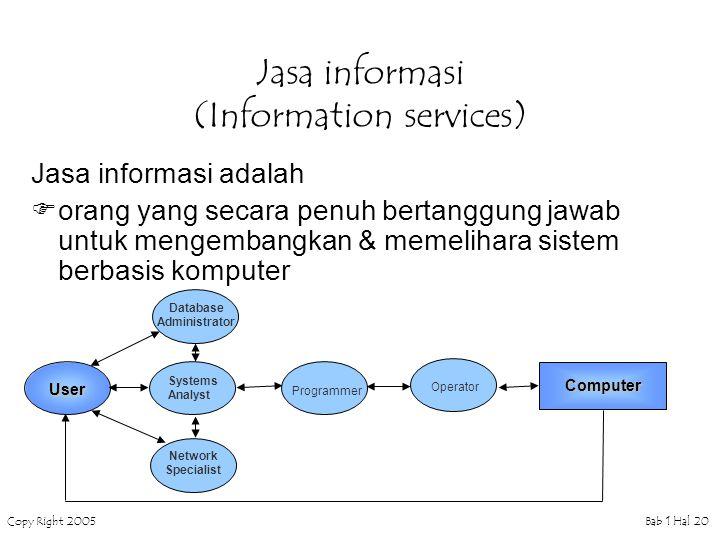 Copy Right 2005Bab 1 Hal 20 Jasa informasi (Information services) Jasa informasi adalah  orang yang secara penuh bertanggung jawab untuk mengembangkan & memelihara sistem berbasis komputer Database Administrator User Systems Analyst Programmer Operator Computer Network Specialist