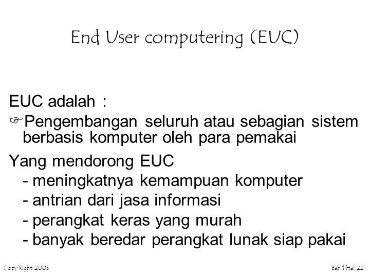 Copy Right 2005Bab 1 Hal 22 End User computering (EUC) EUC adalah :  Pengembangan seluruh atau sebagian sistem berbasis komputer oleh para pemakai Yang mendorong EUC - meningkatnya kemampuan komputer - antrian dari jasa informasi - perangkat keras yang murah - banyak beredar perangkat lunak siap pakai