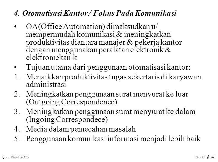 Copy Right 2005Bab 1 Hal 34 4. Otomatisasi Kantor / Fokus Pada Komunikasi OA(Office Automation) dimaksudkan u/ mempermudah komunikasi & meningkatkan p