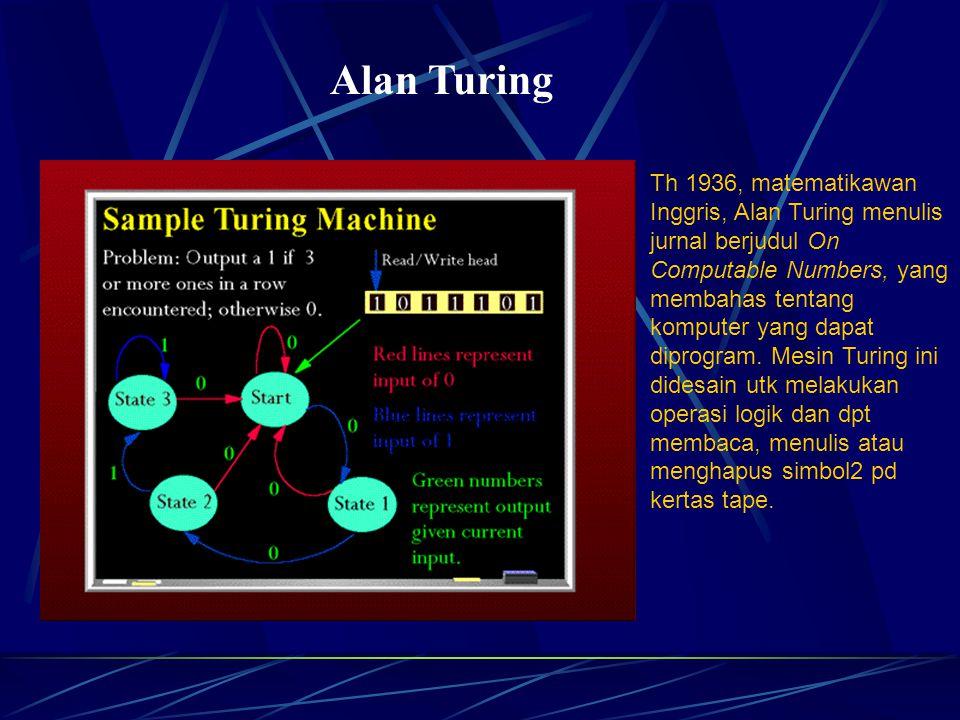 Alan Turing Th 1936, matematikawan Inggris, Alan Turing menulis jurnal berjudul On Computable Numbers, yang membahas tentang komputer yang dapat diprogram.