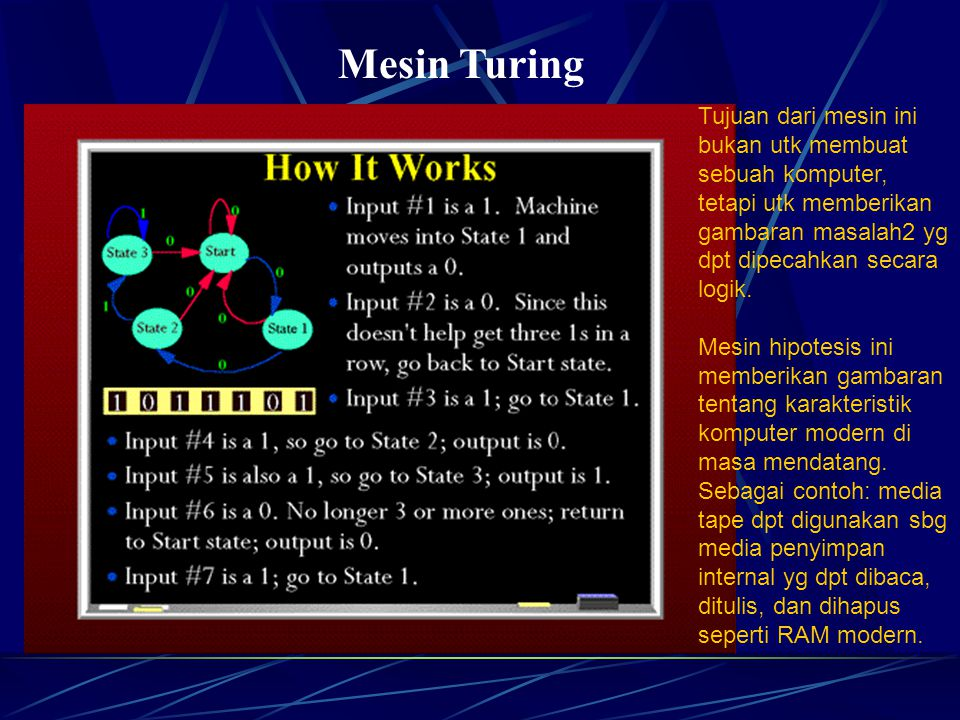 Mesin Turing Tujuan dari mesin ini bukan utk membuat sebuah komputer, tetapi utk memberikan gambaran masalah2 yg dpt dipecahkan secara logik.
