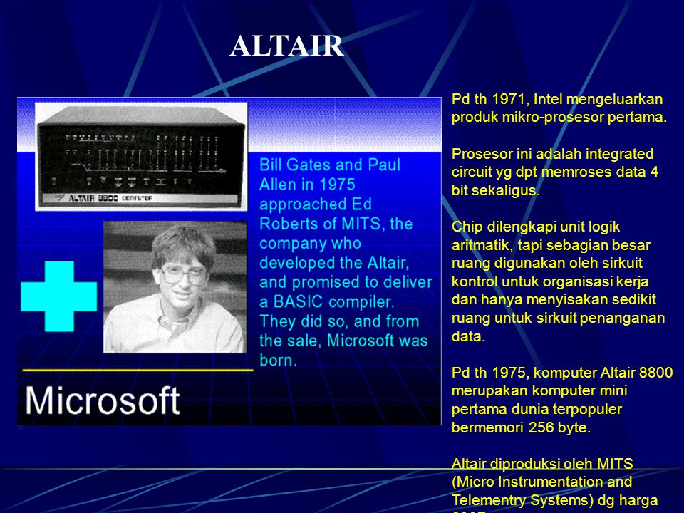 ALTAIR Pd th 1971, Intel mengeluarkan produk mikro-prosesor pertama.