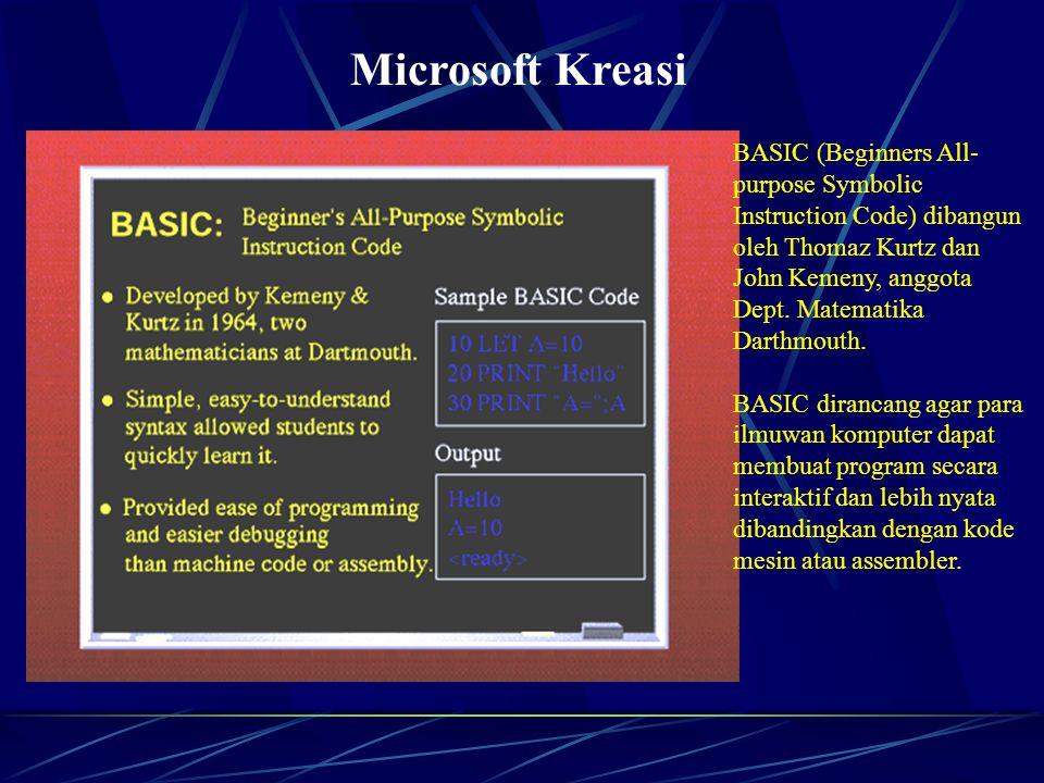 Microsoft Kreasi BASIC (Beginners All- purpose Symbolic Instruction Code) dibangun oleh Thomaz Kurtz dan John Kemeny, anggota Dept.