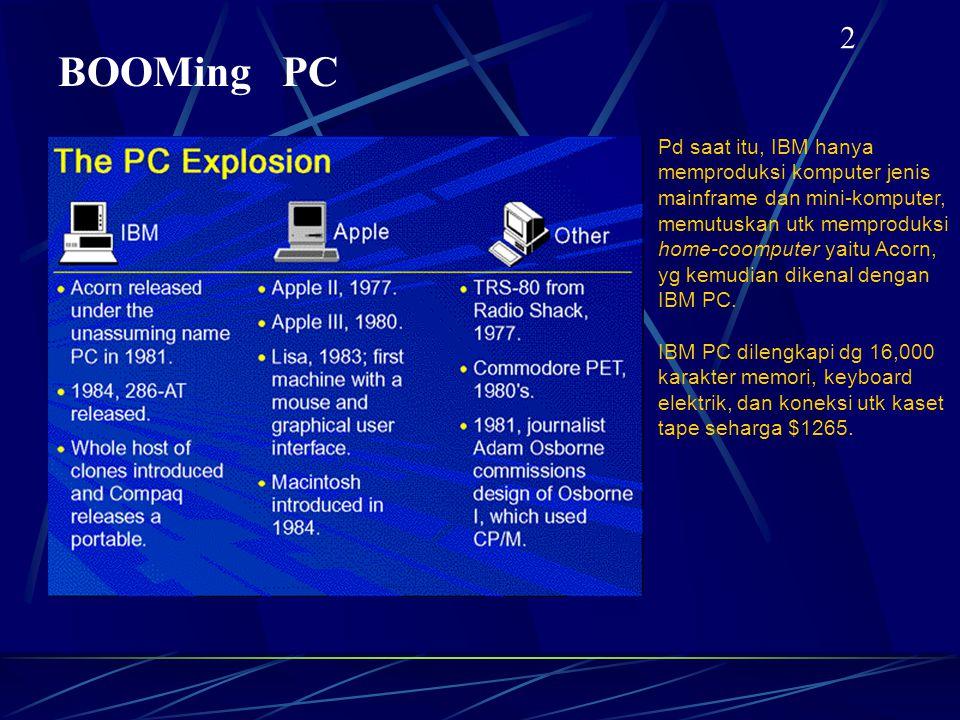 BOOMing PC 2 Pd saat itu, IBM hanya memproduksi komputer jenis mainframe dan mini-komputer, memutuskan utk memproduksi home-coomputer yaitu Acorn, yg kemudian dikenal dengan IBM PC.
